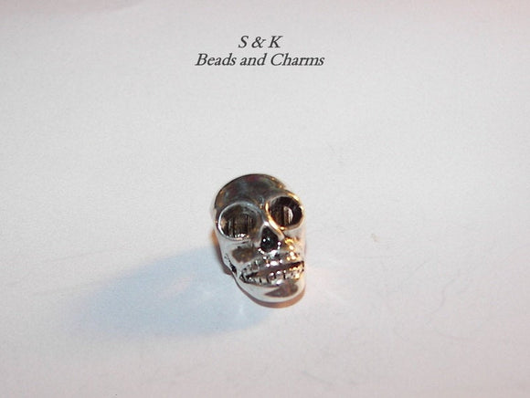 925 sterling silver skull charm, charms for European charm bracelets, large hole beads for snake chain bracelet
