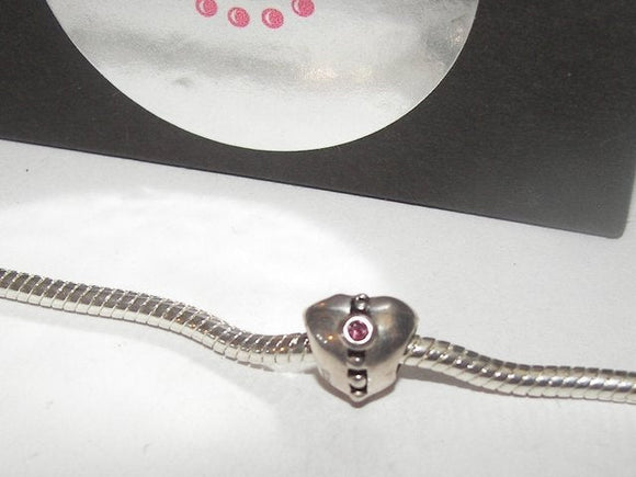sterling silver heart European charms, large whole bead for snake chain bracelet ,anniversary gift