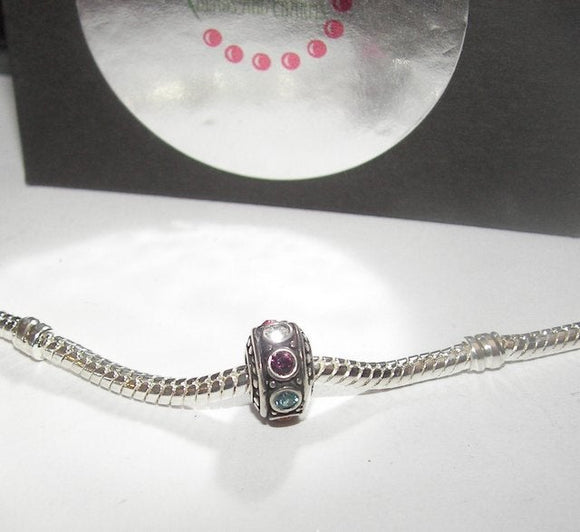 birth stone charm, sterling silver european charms, large whole bead for snake chain bracelet