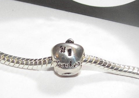 925 sterling silver apple european  charm large hole bead for snake chain bracelet. 925 sterling european charm fits pandora.