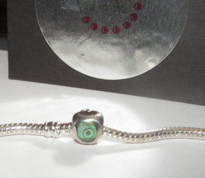 Apple and enamel sterling silver european charms, large whole bead for snake chain bracelet
