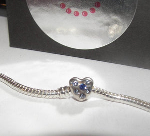 Heart with blue stones , sterling silver european charms, large whole bead for snake chain bracelet