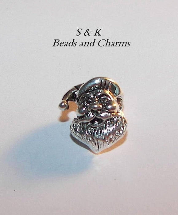 Santa sterling silver european charm , large whole bead for snake chain bracelet