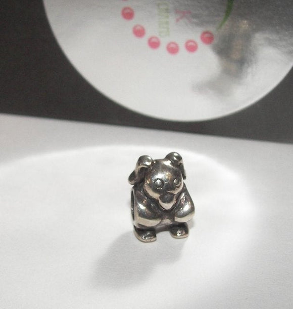 925 sterling silver bunny charm , large hole european charm bead,  charms to fit snake chain bracelet