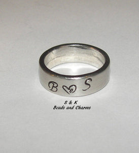 personalized pewter ring ,  mothers ring with kids name or initals, custom hand stamped jewelry handstamped jewelry