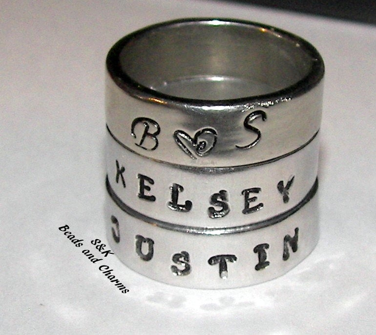 Pewter Silver  Personalized stacking name rings,  mommy jewelry hand stamped ring,  kids name rings for mom handstamped jewelry