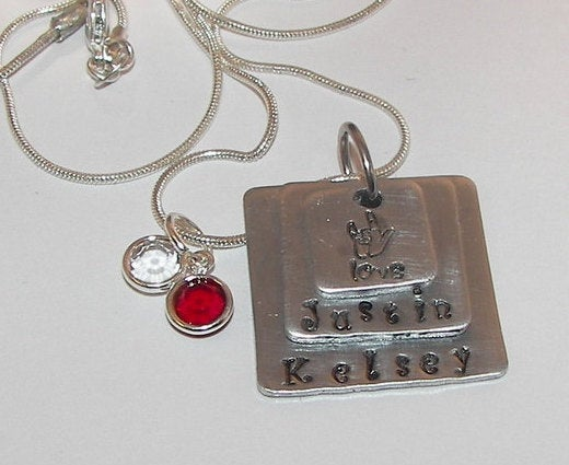 ALS  mommy jewelry, custom personalized hand stamped necklace, kids name necklace for mom
