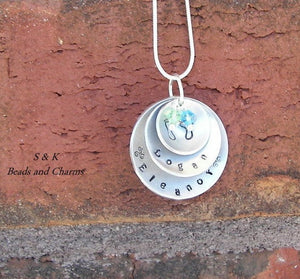 Hand stamped 3 layer Mommy necklace, Custom personalized necklace with kids name, new mom gift