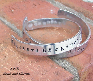 sterling silver Sisters by chance friends by choice bracelet, personalized sister gifts, hand stamped bracelet for sisters,