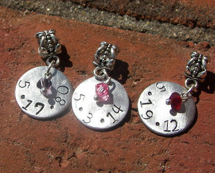 Custom hand stamped, European charms, hand stamped jewelry, birth date charm, personalized, European bracelet, engraved jewelry, handstamped