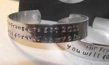 Load image into Gallery viewer, You will forever by my always, fathers day gift, wedding gift , gift for him, personalized cuff, custom cuff, message bracelet, stamped cuff