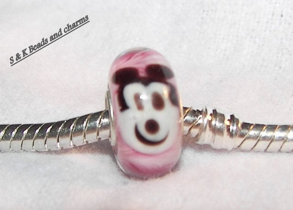 925 silver core glass mouse  bead, european large hole glass bead, European charms to fit pandora , custom glass bead