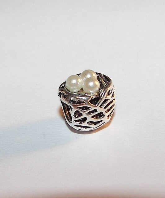 925 sterling silver  birds nest European charms ,  European beads that fits snake chain bracelet