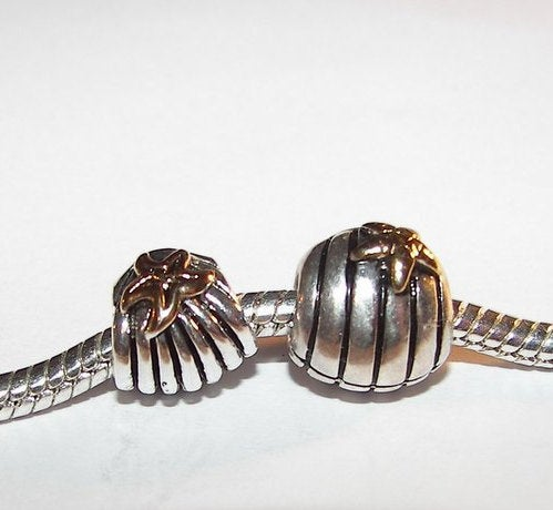 925 sterling silver shell  charm, European large whole beads to fits snake chain bracelet
