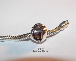 925 sterling silver shell  charm, European large hole bead charms , fits snake chain bracelet