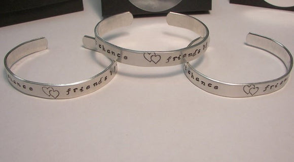 sterling sister bracelet set, Hand stamped jewelry, personalized cuff, custom stamped,  sisters jewelry, Sisters by chance friends by choice