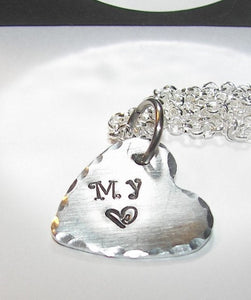 My heart sterling silver mom necklace, Hand stamped  personalized jewelry, custom heart necklace