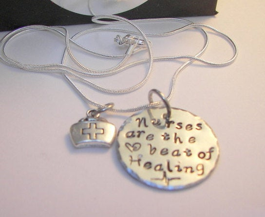 Sterling silver, Hand stamped jewelry, custom hand stamped personalized, engraved , RN LPN, CNA, Nurses are the heart beat of healing,