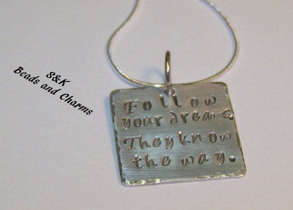 Sterling silver follow your dreams, personalize jewelry for mom necklace, inspiration mommy necklace