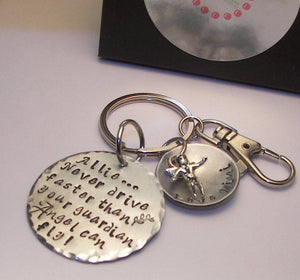 Don't drive faster than your guardian angel Sweet 16th birthday gift for new driver, Hand stamped personalized jewelry, custom jewelry