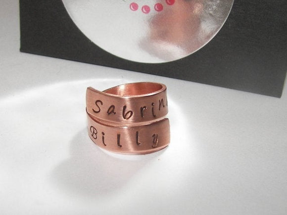 Copper wrap ring with names, custom personalized hand stamped jewelry , mommy ring with kids names handstamped jewelry
