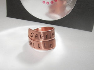 best friends wrap ring, personalized ring, custom hand stamped  jewerly , mommy ring, kids names ring ,  couples ring , name ring