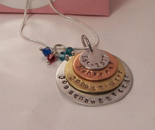 Sterling silver 4 layer mom necklace, custom hand stamped personalized jewelry, mothers necklace with kids names