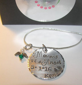 Mom of a angel, memorial jewelry, infant loss, baby loss, hand stamped jewelry, mothers necklace, personalized jewelry , I love you forever