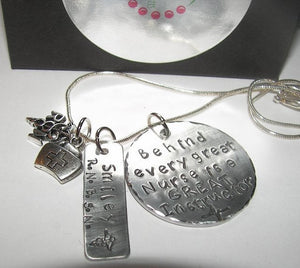 sterling Nurses instructor gift Behind every nurse is a great instructor,  custom personalized  Hand stamped jewelry, RN instructor gift