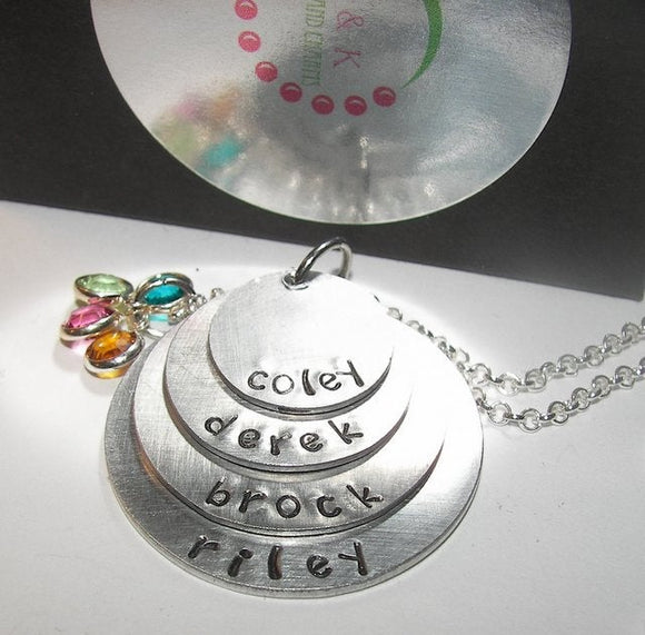 4 layer mothers necklace with kids names, Custom personalized mom necklace,  hand stamped mothers jewelry