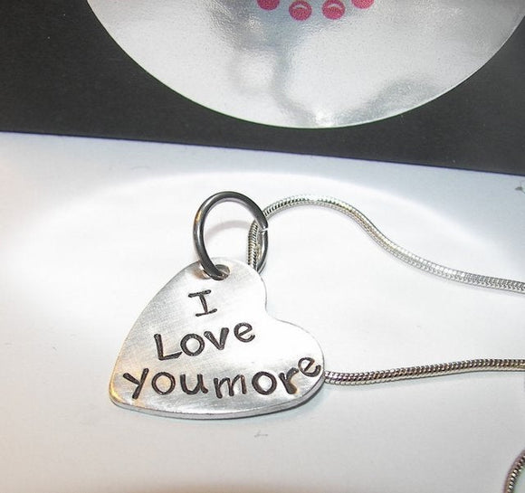 Sterling silver, I love you more, Valentine gift, hand stamped jewelry, be mine always, custom stamped, girl friend gift, personalized gift