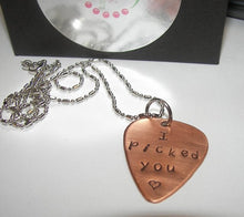 Load image into Gallery viewer, I picked you copper pick necklace, Fathers day gift personalized gift for dad, custom stamped