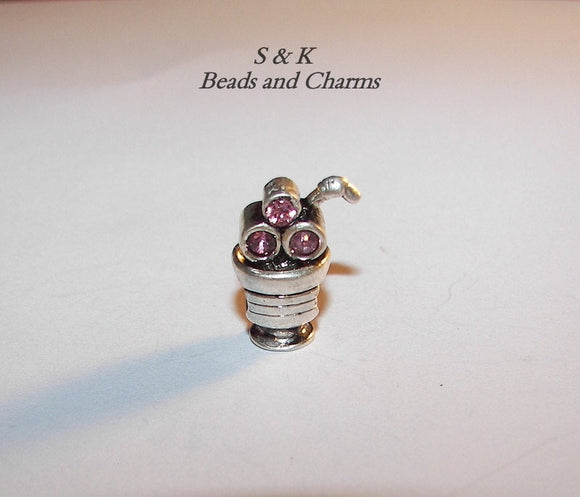 925 sterling silver soda charm with gem, large hole beads for European charm bracelets,  charms for snake chain bracelet