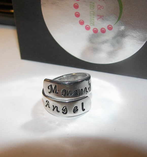 Mommy of a angel infant loss ring, kids names ring, Custom memorial wrap ring for mom, Angel baby ring handstamped jewelry