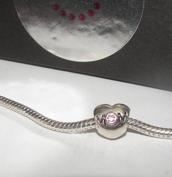 Mom heart with pink stone , sterling silver european charm , large whole bead for snake chain bracelet