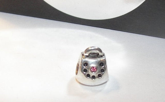 925 sterling silver with pink gem purse charm, european charm bead to fit snake chain bracelet, gift for purse lover or seller