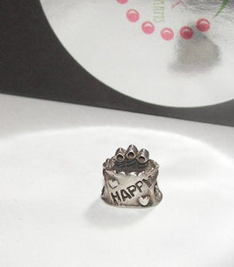 925 sterling silver Birthday cake  charm,large hole charm bead for snake chain bracelets, European charm bracelet charms