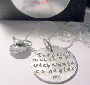 They shall mount up with wings as eagles, Hand stamped jewelry, personalized, personalized jewelry, Custom hand stamped , religious necklace