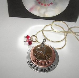 Personalized Mommy 3 layer Hand stamped necklace, Custom hand stamped jewelry with kids names for mom
