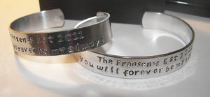 You will forever by my always, fathers day gift, wedding gift , gift for him, personalized cuff, custom cuff, message bracelet, stamped cuff