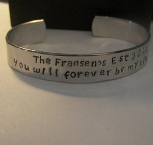 You will forever be my always, couples bracelet, custom cuff bracelet, men's cuff, hand stamped jewelry, personalized jewelry, men's jewelry