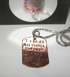 I can do all things in Christ Nurse gift, Custom Hand stamped jewelry, RN Necklace, personalized jewelry handstamped jewelry