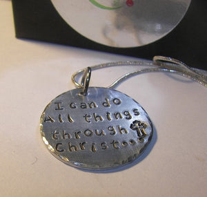 925 sterling silver, I can do all things through Christ, Hand stamped jewelry, personalized, personalized jewelry, religious jewelry