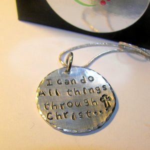 I can do all thing through Christ, Hand stamped jewelry, personalized jewelry, religious jewelry, custom  jewelry, gift for her