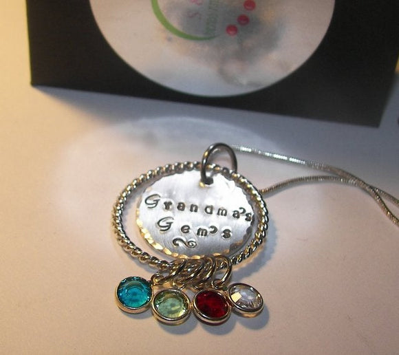 Grand mothers gems necklace, Hand stamped mother necklace, handstamped jewelry for mimi, Nana's  necklace  for her
