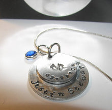Load image into Gallery viewer, Mothers necklace personalized with kids names and birthdate, Custom hand stamped jewelry for mom or grandma