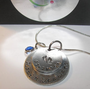 Mothers necklace personalized with kids names and birthdate, Custom hand stamped jewelry for mom or grandma