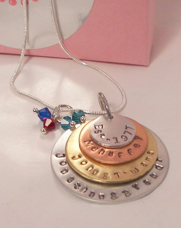 4 layer mom necklace, custom stamped, hand stamped, personalized jewelry, mothers necklace, kids names necklace, layer necklace,gift for mom