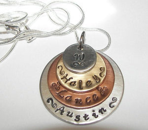 4 layer mixed metal mothers necklace with kids names, personalized jewelry for mom , custom hand stamped jewelry handstamped jewelry