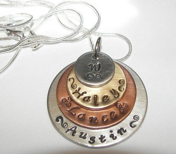 Mothers necklace with kids names in 4 layers with mixed metals , personalized mothers gift,  mommy jewelry